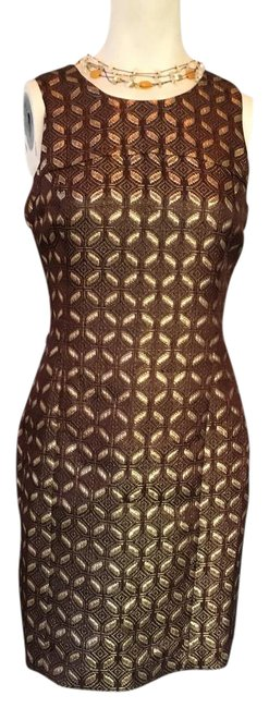 Item - Gold Mid-length Cocktail Dress Size 4 (S)