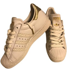 adidas Superstar Sneakers White with white snakeskin stripes and gold Athletic