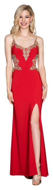 Item - Red/Gold Jersey Cut-out Gown Long Cocktail Dress Size 12 (L)