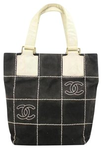 Chanel Shopper Shopping Tote Satchel in Black/White