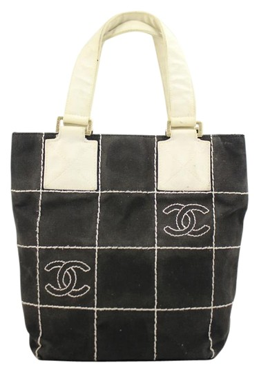 Chanel Shopping Tote Shoping Gst Pst Satchel in Black/White