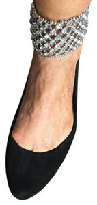 ZIGIny Dressy Crystal Suede Ankle Cuff black Flats
