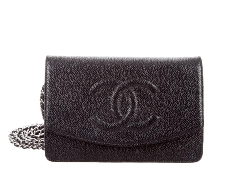 641f81c5f01e Chanel Black Caviar Leather Woc Wallet On Chain Timeless Silver ...