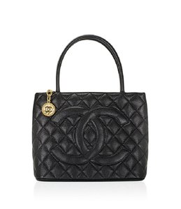 Chanel Medallion Caviar Vintage Tote in Black