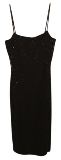 Item - Black Beading Cocktail Mid-length Night Out Dress Size 8 (M)