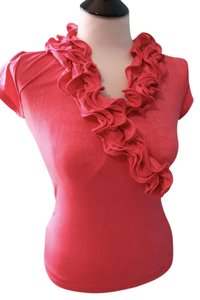 BCX Ruffle Work Casual Top Orange