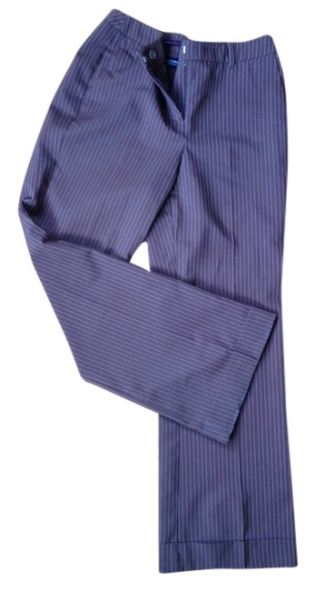 New York & Company Wide Leg Pants Brown with white pin stripes