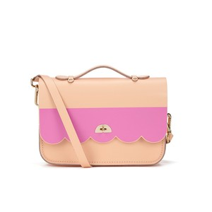 The Cambridge Satchel Company Leather Embossed Logo Top Handle Satchel in Peach