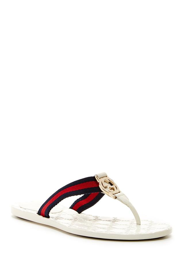 82603fafd74 Gucci White New Women s Web Gg Flip Flops Thongs Sandals 37 270375 ...