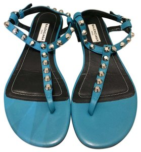 Balenciaga Studded Leather Classic blue turquoise Sandals