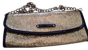 Betsey Johnson Black Casual Evening Gold Clutch