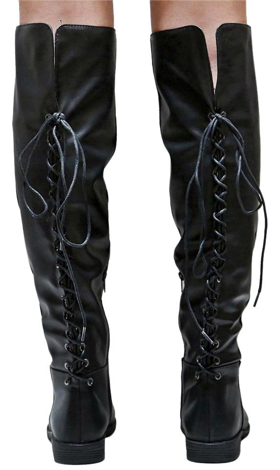 e84d05d06c4 BaMBooco Black New Women Bm9p Lace Up Over Knee High Riding Long Boots  Booties