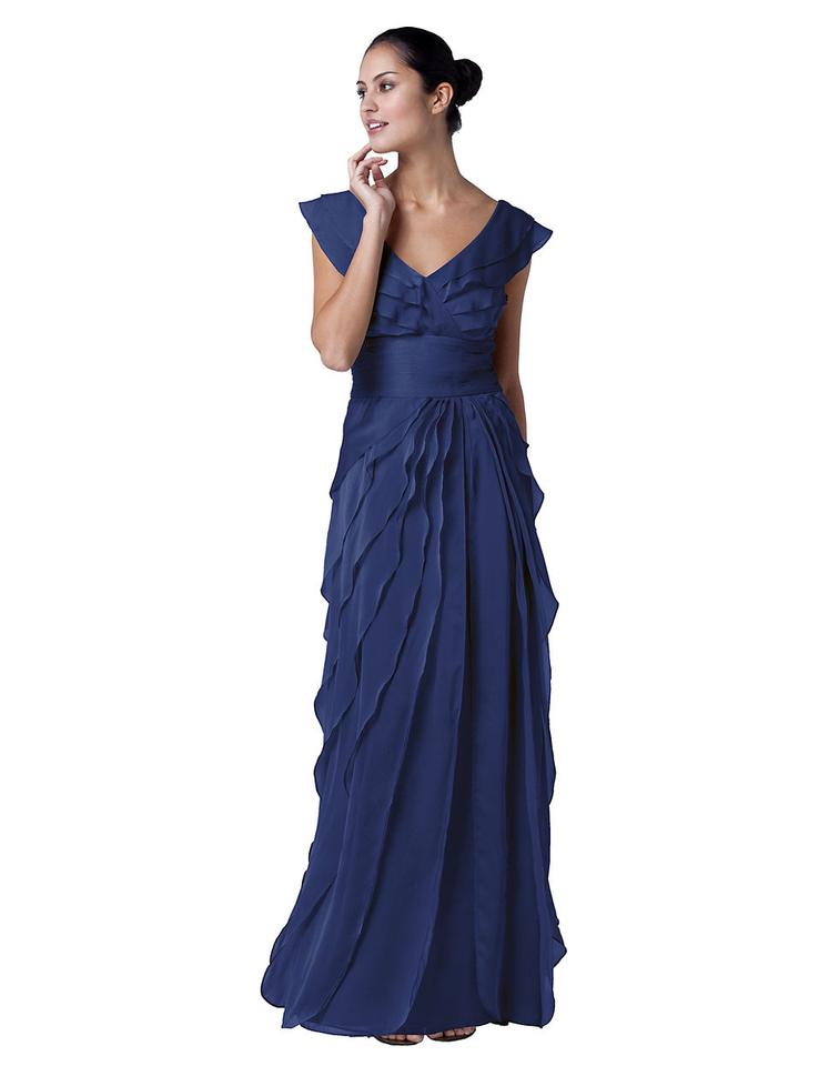 Adrianna Papell Navy Asymmetrical Ruffle Gown Long Formal Dress Size