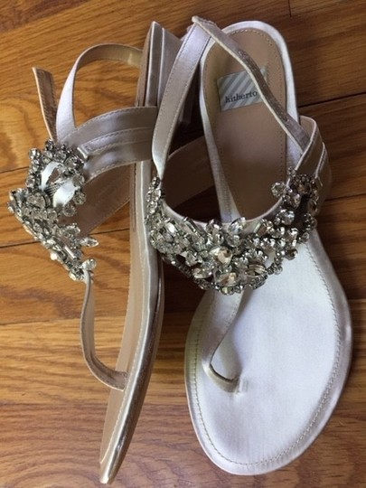 BHLDN Crystals Satin Leather Soles Wedding Wedding Ivory Sandals Image 1