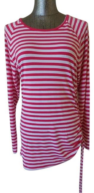 Item - Pink & White Striped Long Sleeved Tunic Size 6 (S)