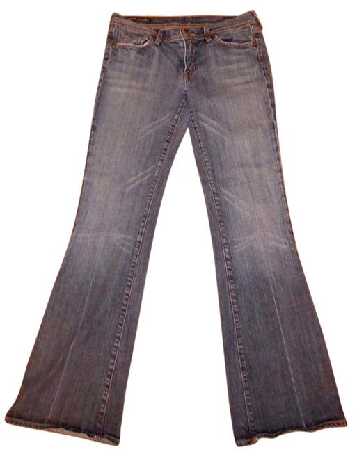 Item - Light Indigo Blue Distressed Ingrid #002 Stretch Low Rise Flare Leg Jeans Size 32 (8, M)