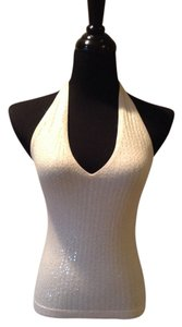 BCBG Max Azria Elegant Sleeveless Sequin Los Angeles Cream Halter Top