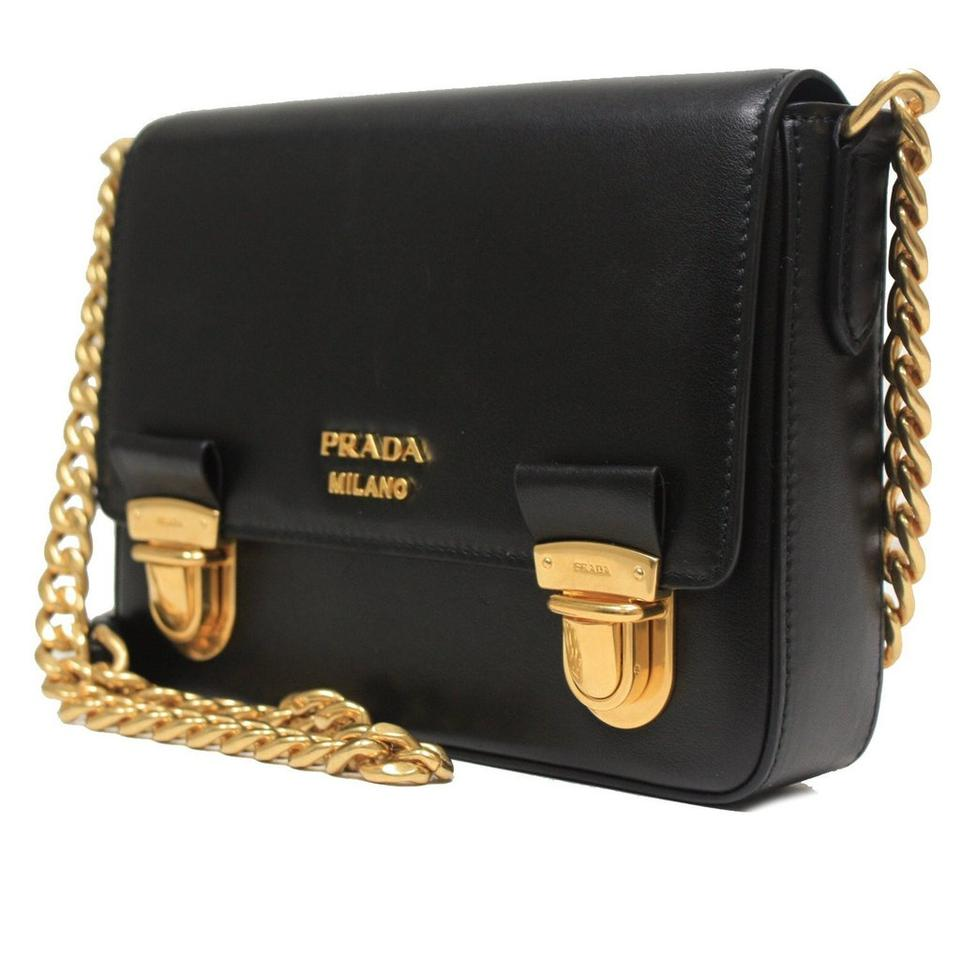 b0574c6f18df Prada Small Chain with Gold Hardware Black Leather Shoulder Bag - Tradesy