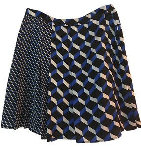 Halogen Pelated Business Casual Skirt Black/White/Royal Blue