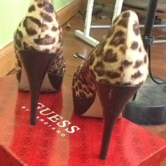 Guess By Marciano Brown Fabric Multi With Red Insoles Cheetah Print Platforms