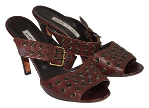 Manolo Blahnik Leather Ankle Strap Brown Sandals