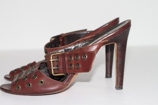 Manolo Blahnik Leather Ankle Strap Brown Sandals Image 1