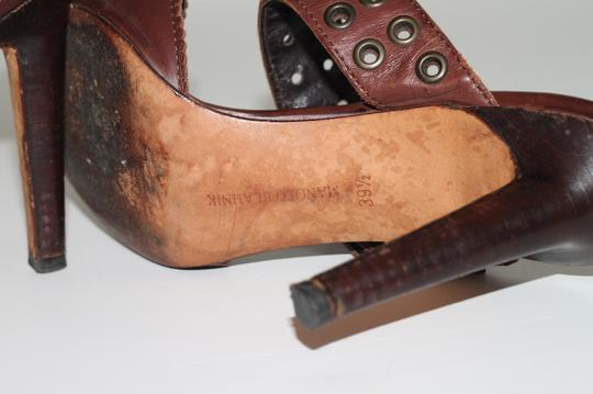 Manolo Blahnik Leather Ankle Strap Brown Sandals Image 10