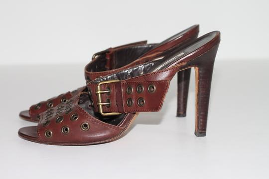 Manolo Blahnik Leather Ankle Strap Brown Sandals Image 2