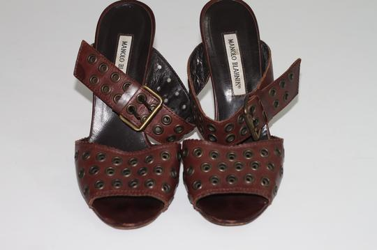 Manolo Blahnik Leather Ankle Strap Brown Sandals Image 3