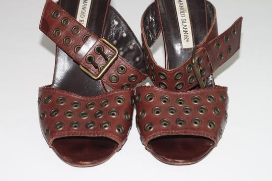 Manolo Blahnik Leather Ankle Strap Brown Sandals Image 4