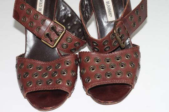 Manolo Blahnik Leather Ankle Strap Brown Sandals Image 6