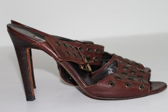 Manolo Blahnik Leather Ankle Strap Brown Sandals Image 7