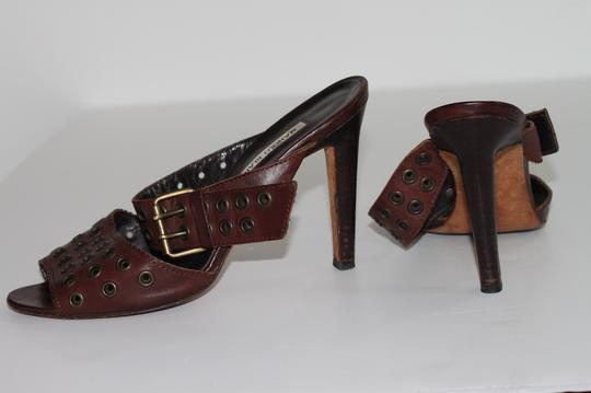 Manolo Blahnik Leather Ankle Strap Brown Sandals Image 9