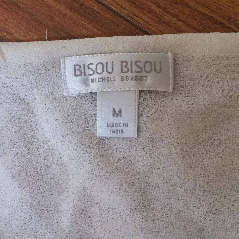 Bisou: Bisou Bisou Ivory With Silver Sequin Tank Top/Cami Size 8