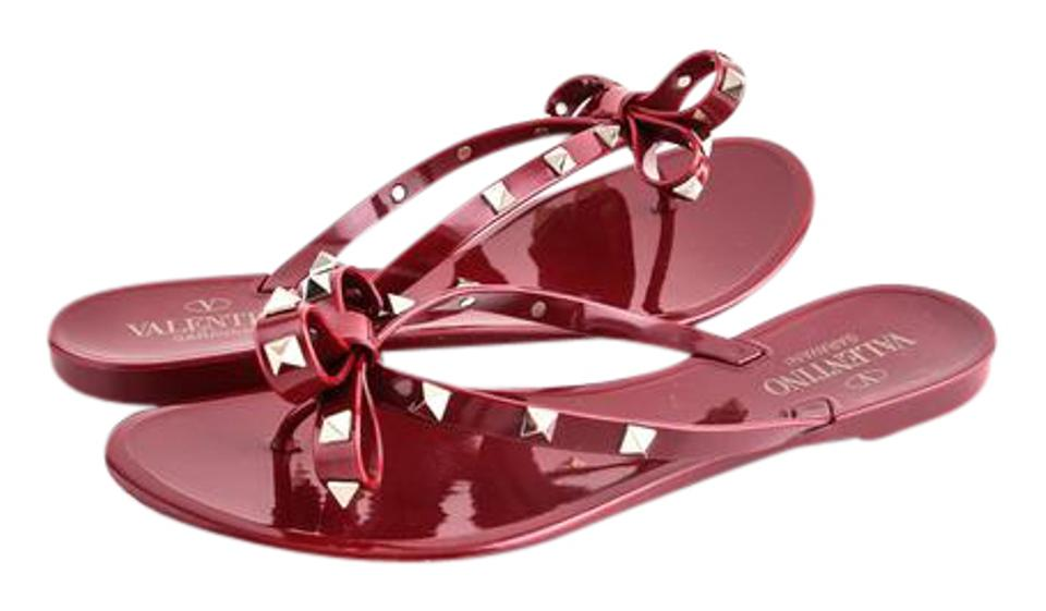 74eef65a6a2 Valentino Jelly Rockstud Flat Thong Dark Red Sandals Size US 9 ...