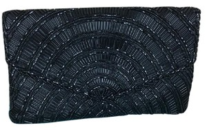 La Regale Beaded Vintage Retro Evening Formal Black Clutch