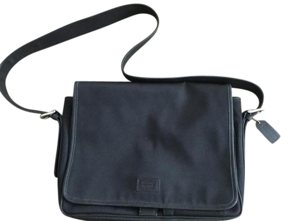 845dc835b578 Coach Computer Briefcase Crossbody Black Nylon Leather Messenger Bag ...