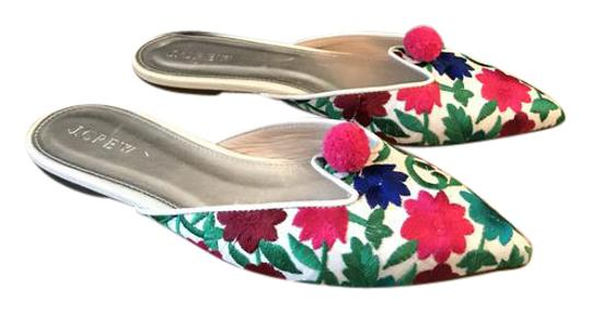 Preload https://img-static.tradesy.com/item/21950464/jcrew-pink-green-blue-floral-embroidered-pointed-toe-mulesslides-size-us-6-regular-m-b-0-1-540-540.jpg