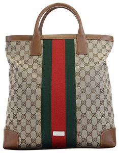 Gucci Shoulder Sherry Line Gg Pvc Tote in brown
