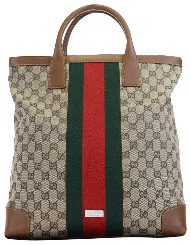 cfd07843a82 Gucci Limited Edition Rare Sherry Line Large Brown Pvc Tote - Tradesy
