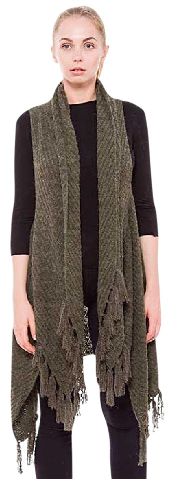 292a4c0f38d0b7 Olive Green New Boho Tribal Chic Fringed Knit Long Vest Size OS (one ...