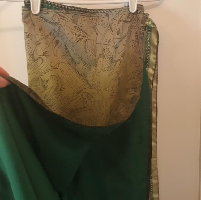 green olive gold Maxi Dress by Handmaid Silk Tank And Wrap Skirt Image 4