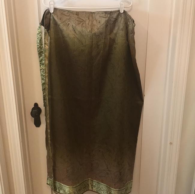 green olive gold Maxi Dress by Handmaid Silk Tank And Wrap Skirt Image 5