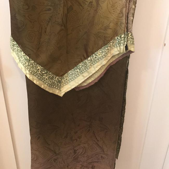 green olive gold Maxi Dress by Handmaid Silk Tank And Wrap Skirt Image 9