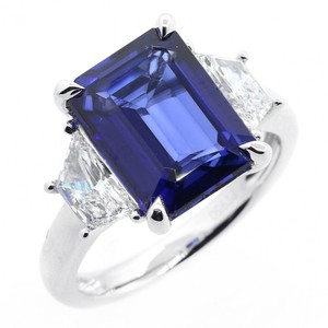 Blue 1.08 Cts Trapez Cut with 5.38 Cts Jadore Emerald Cut Set Engagement Ring