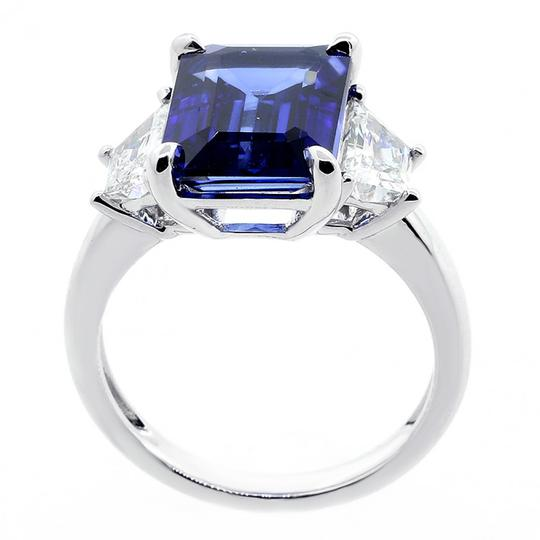 Blue 1.08 Cts Trapez Cut with 5.38 Cts Jadore Emerald Cut Set Engagement Ring Image 2