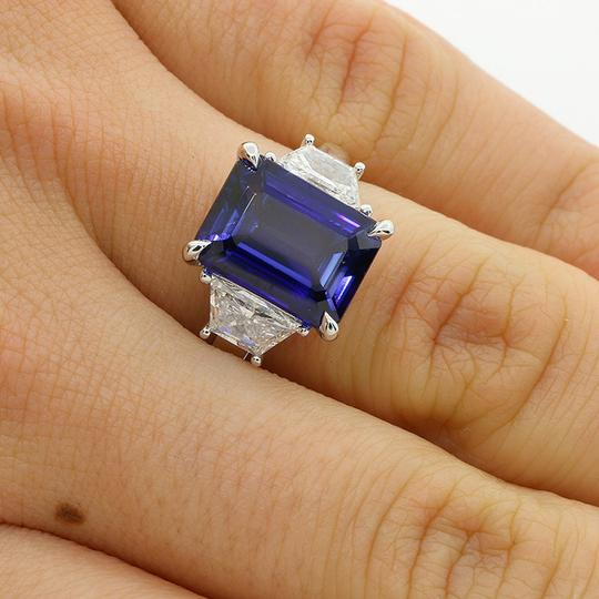 Blue 1.08 Cts Trapez Cut with 5.38 Cts Jadore Emerald Cut Set Engagement Ring Image 4