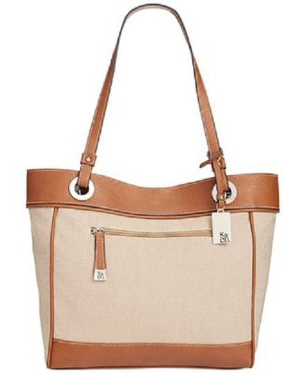 Style & Co Macy's Linen Tote in tan/brown Image 9