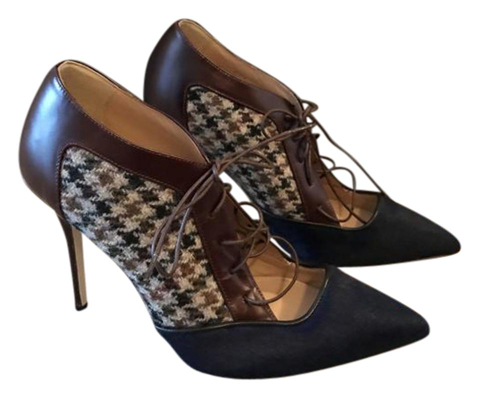 7942d62b8a6 J.Crew Navy Brown Collection Lace-up Houndstooth Pumps 5m Boots Booties