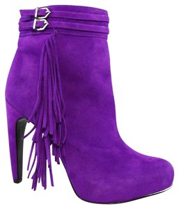 Sam Edelman Hidden Platform Suede Stiletto Ankle Strap Purple Boots